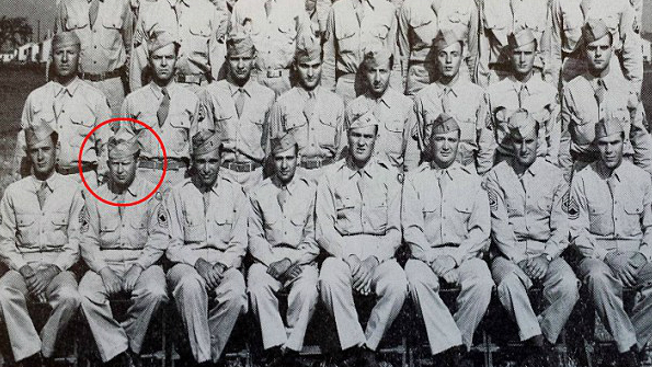 Master Sgt. Roddie Edmonds, circled in red, at Camp Atterbury. (Courtesy Chris Edmonds)