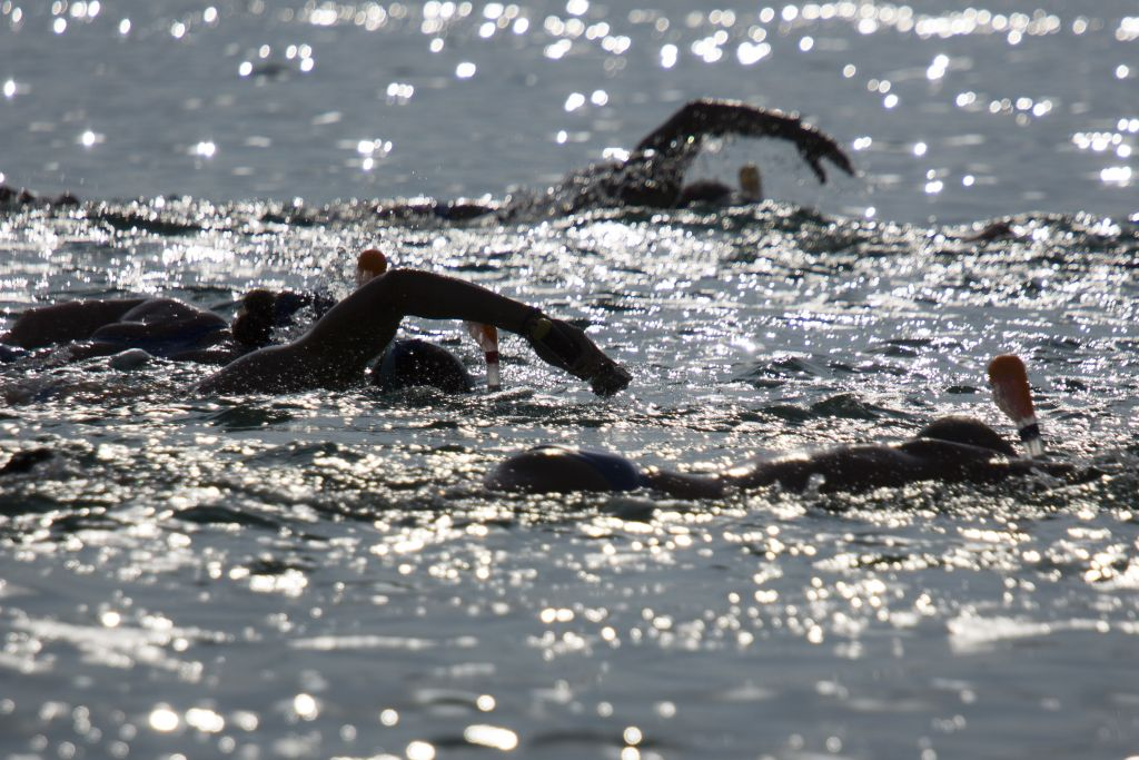 People swim in the salty waters of the Dead Sea, from Jordan to Israel, arriving at Ein Gedi, Israel, Tuesday, Nov. 15, 2016. Swimmers from around the world plunged into the salty waters of the Dead Sea in a bid to draw attention to its environmental degradation. Wearing protective masks and snorkels, 25 swimmers paddled through the muddy water to attempt the 10-mile (17-kilometer) swim from Jordan to Israel. (AP Photo/Ariel Schalit)