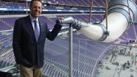 Mark Wilf, a co-owner of the Minnesota Vikings, at the team's gigantic Nordic horn in its new $1.1 billion stadium. Hillel Kuttl