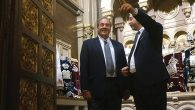 Rabbis Yechiel Eckstein, left, and Moshe Sebbag in the Grand Synagogue of Paris last June.  Cnaan Liphshiz
