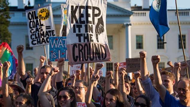 Demonstrators protest against the Dakota Access Pipeline outside the White House in Washington, DC, in Sep, 2016. Getty Images