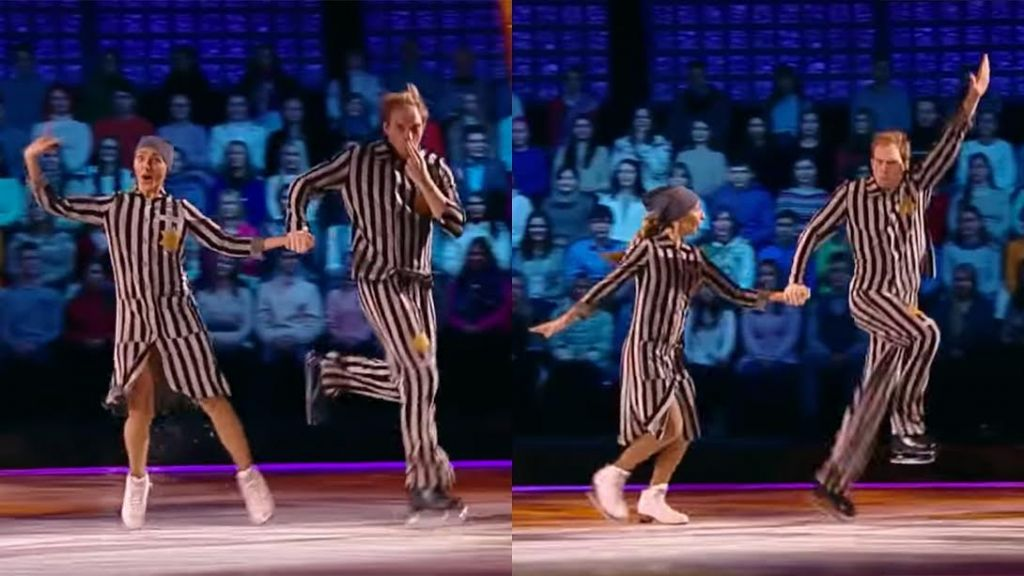 Former Olympic ice dancer Tatiana Navka performed with actor Andrei Burkovsky in a televised Holocaust-themed ice dance in Moscow, November 26, 2016. (Photo: YouTube Screen Capture)