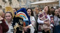Members of Women Of The Wall bring Torahs to the Western Wall on Wednesday morning. Courtesy of Women Of The Wall