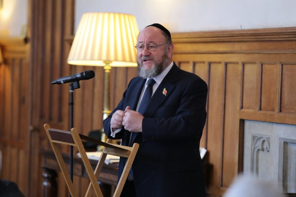 Chief Rabbi Mirvis speaking at the interfaith gathering