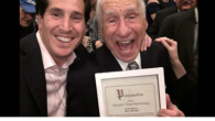 Mel Brooks with his great-nephew, Todd Kaminsky, who is running for State Senate in New York. Screenshot/Twitter @toddkaminsky