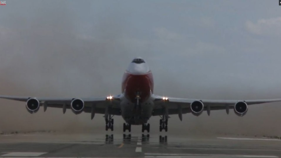 The Boeing Supertanker taking off. (Screen capture Ynet video)