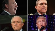 Dans le sens des aiguilles d'une montre, en partant du coin supérieur gauche : Mike Pompeo, Michael Flynn, Donald Trump et Jeff Sessions. (Crédit : Pompeo - Win McNamee/Getty Images ; Flynn - Alex Wong/Getty Images ; Trump - Chip Somodevilla/Getty Images ; Sessions - Jeff Swensen/Getty Images)