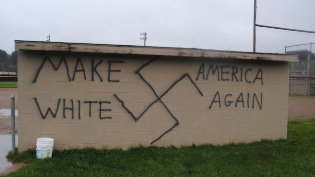 Nazi-themed graffiti was found in the town of Wellsville, New York, soon after Donald Trump won the Presidential election. JTA
