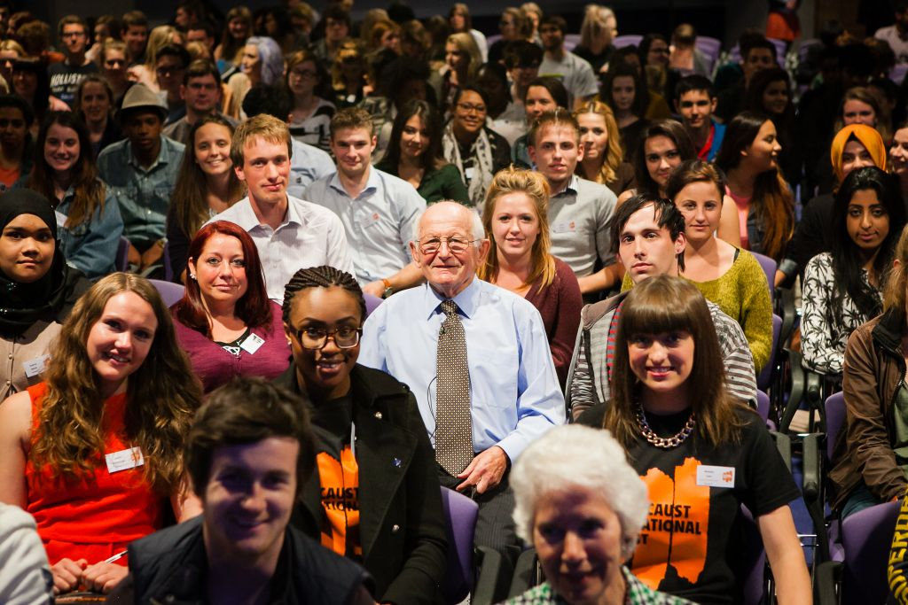 Jack Kagan in the audience of an event surrounded by young Holocaust Educational Trust ambassadors (Credit: Yakir Zur)