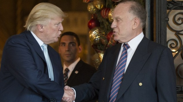 US President-elect Donald Trump shakes hands with Ronald Lauder, President of the World Jewish Congress,  after a meeting on December 28, 2016 at Mar-a-Lago in Palm Beach, Florida. (AFP/DON EMMERT)