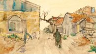 "Jakob Steinhardt's 1938 watercolor ""Street in Jerusalem."""