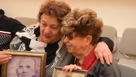 Fania Blakay, left, embracing her cousin Henia Moskowitz Tuesday after they were united at the Yad Vashem Holocaust museum