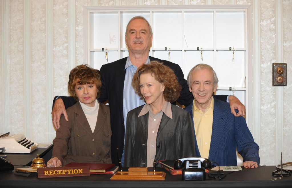 Prunella Scales, John Cleese, Connie Booth and Andrew Sachs are seen promoting two Fawlty Towers specials created to commemorate the 30 years anniversary as German-born British actor, Andrew Sachs, best known for playing Spanish waiter Manuel in Fawlty Towers dies aged 86 (Photo: Ian West/PA Wire)