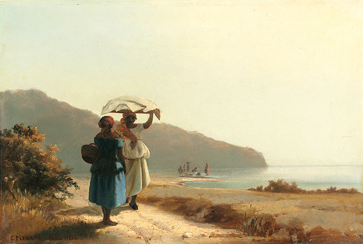 """Two Women Chatting by the Sea,"" 1856 by Camille Pissarro. The painter was born to Jewish parents in St. Thomas."