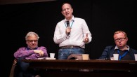 Left to right: Momentum chief Jon Lansman next to chair of the Jewish Labour Movement Jeremy Newmark and Luke Akehurst, a Labour activist at Limmud  (Photo Credit: Eli Gaventa)