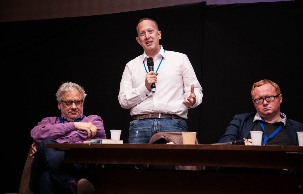 Left to right: Momentum chief Jon Lansman, chair of the Jewish Labour Movement Jeremy Newmark and Luke Akehurst, a Labour activist and director of 'We Believe in Israel' (Photo Credit: Eli Gaventa)