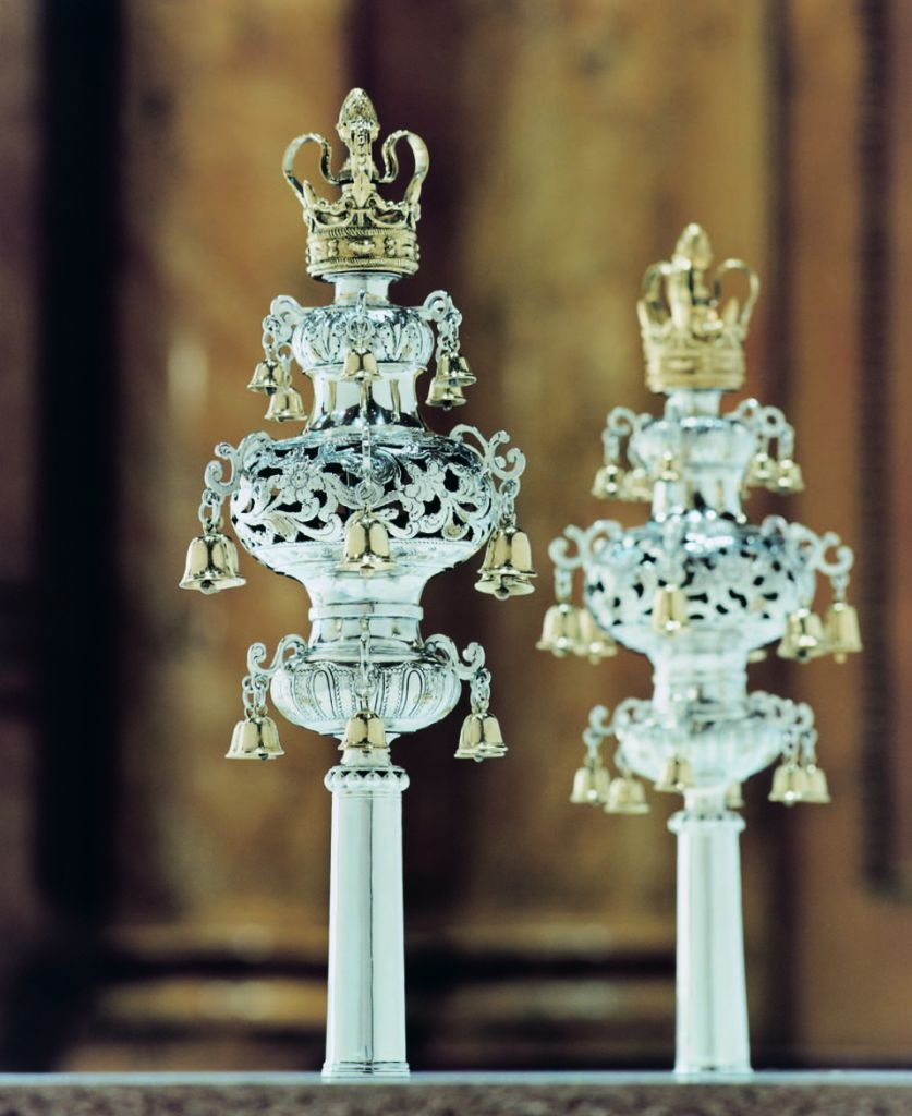 The silver Torah finials crafted by Meyer Meyers, a renowned New World silversmith. (Courtesy Shearith Israel)