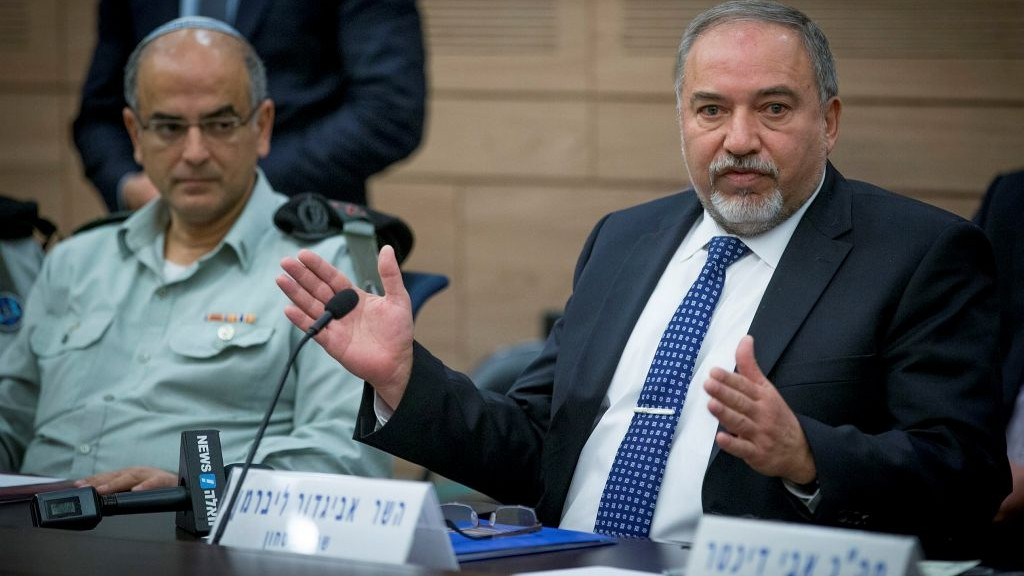 Defense Minister Avigdor Liberman attends the Knesset Defense and Foreign Affairs Committee on December 8, 2016. (Yonatan Sindel/Flash90)