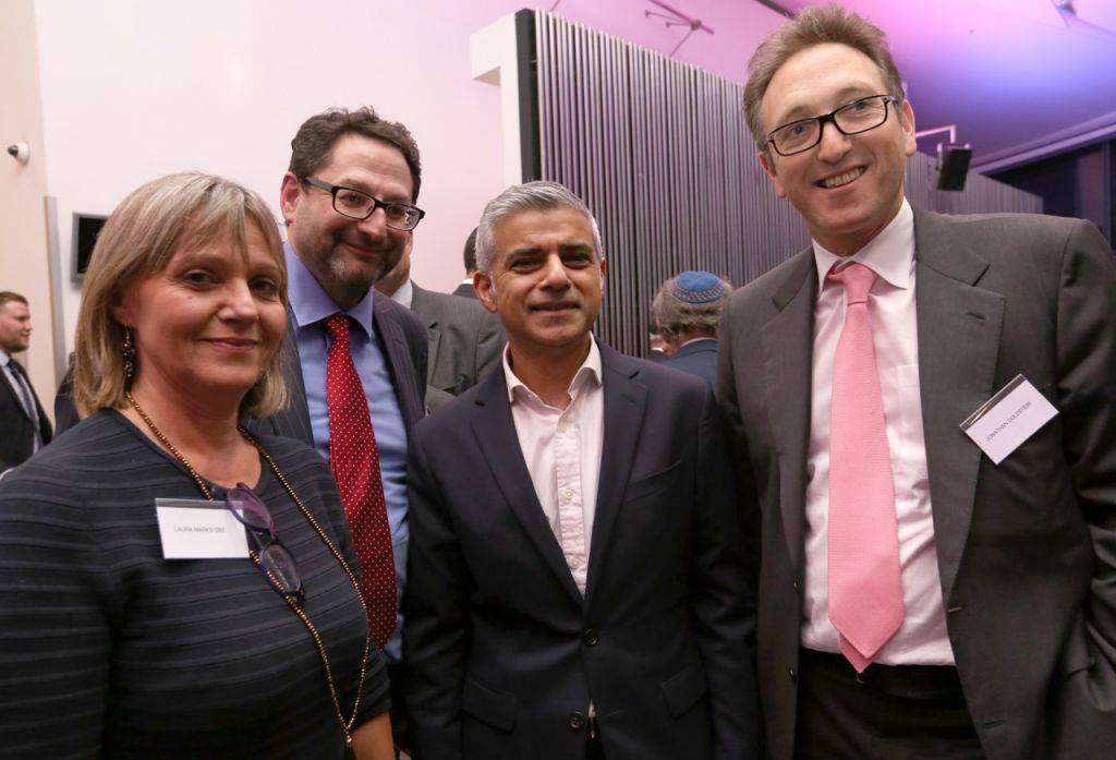 Left to right: Laura Marks OBE, Founder of Mitzvah Day with Adrian Cohen, Chair of the London Jewish Forum, Mayor of London Sadiq Khan and Jonathan Goldstein, Chair of Partnerships for Jewish Schools (PaJeS)