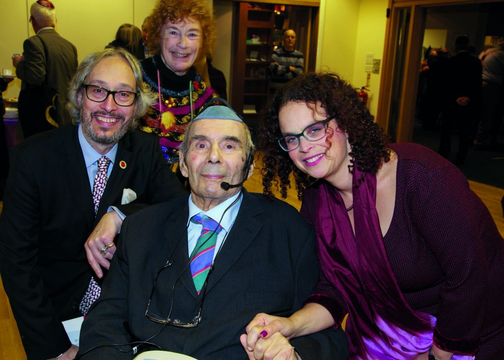 Rabbi Lionel Blue (centre) at the recent anniversary celebrations for Leo Baeck College, where he was the first alumnus.