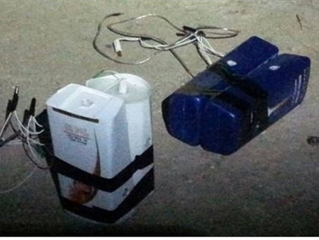 An improvised bomb seized by the Shin Bet as part of a successful operation to smash a Hamas terror ring in the West Bank, announced on December 22, 2016 (Shin Bet)