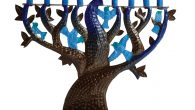 Blue Bird of Happiness menorah