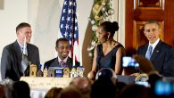 President Barack Obama with Michelle Obama at a Chanukah reception at the White House in 2014. Getty Images