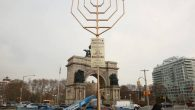 The menorah at Grand Army Plaza, at 33.5 feet, is technically taller than  Manhattan rival. JTA