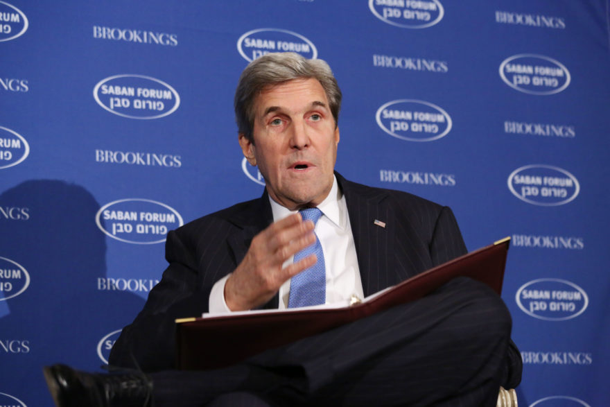 Secretary of State John Kerry addresses the Saban Forum in Washington, DC on December, 4, 2016. (Ralph Aswang, via JTA)