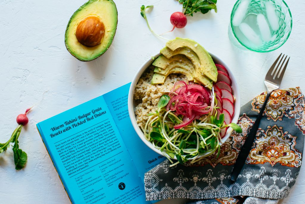The Warm Tahini-Bulgur Grain Bowls with Pickled Red Onions pick up on the grain bowl trend melded with a hit of tahini protein (Courtesy Lauren V. Allen)