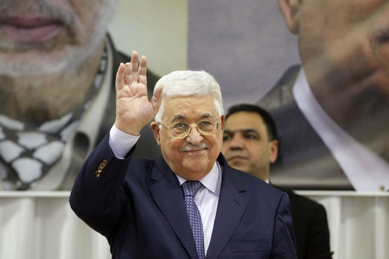 Palestinian president Mahmoud Abbas gestures on January 6, 2017, in Beit Sahur, near the West Bank city of Bethlehem. (AFP/HAZEM BADER)
