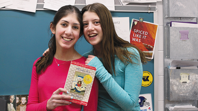 Mia Greenbaum, left, and Sophia Ratzker felt they learned about both Indian and Jewish culture in the Moriah Reads Day program.