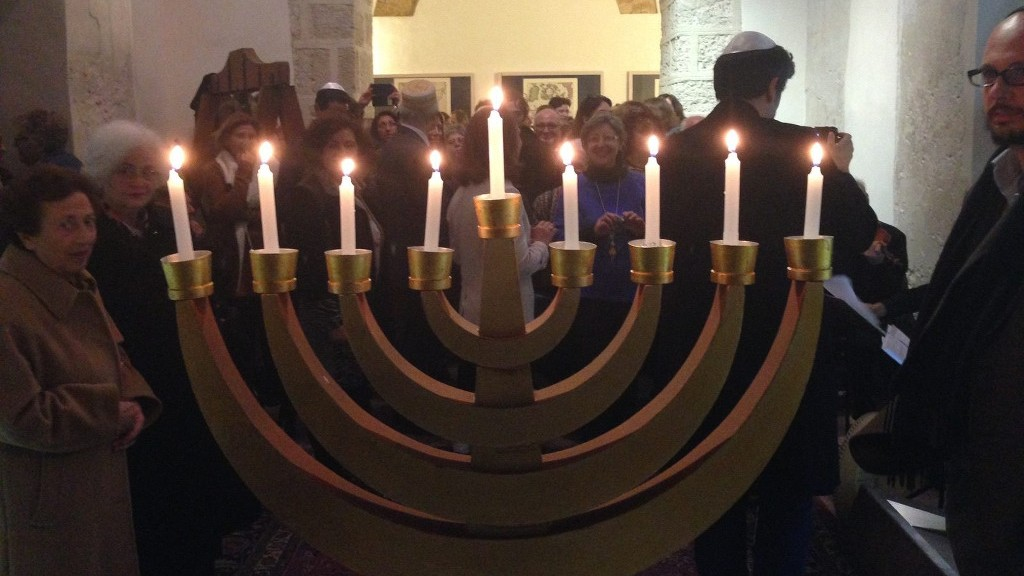 A public menorah lighting at the former Catholic Inquisition headquarters in Palermo, Sicily, 2015. (Courtesy)