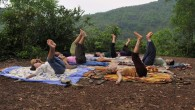 Israeli tourists doing yoga in Goa, India, on January 20, 2010 (Serge Attal/Flash 90)