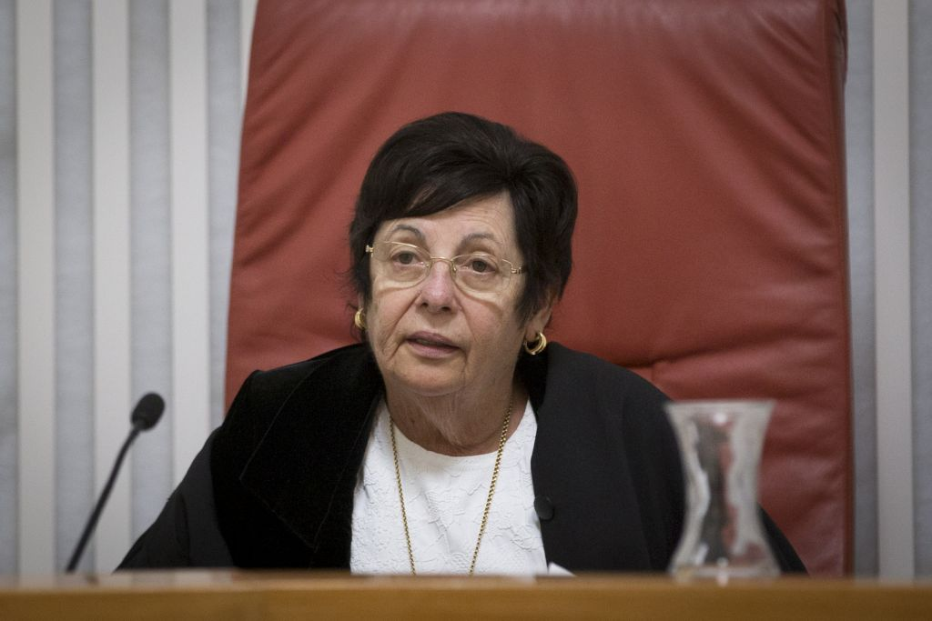 Supreme Court Chief Justice Miriam Naor arrives to the courtroom of the Supreme Court in Jerusalem on December 26, 2016. (Yonatan Sindel/Flash90)
