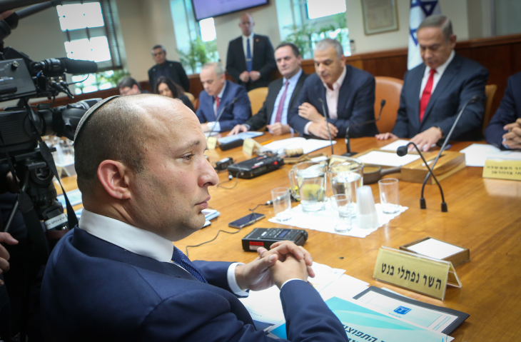 Education Minister Naftali Bennett at the weekly cabinet meeting at the Prime Minister's Office in Jerusalem, on January 22, 2017. (Alex Kolomoisky/Pool)