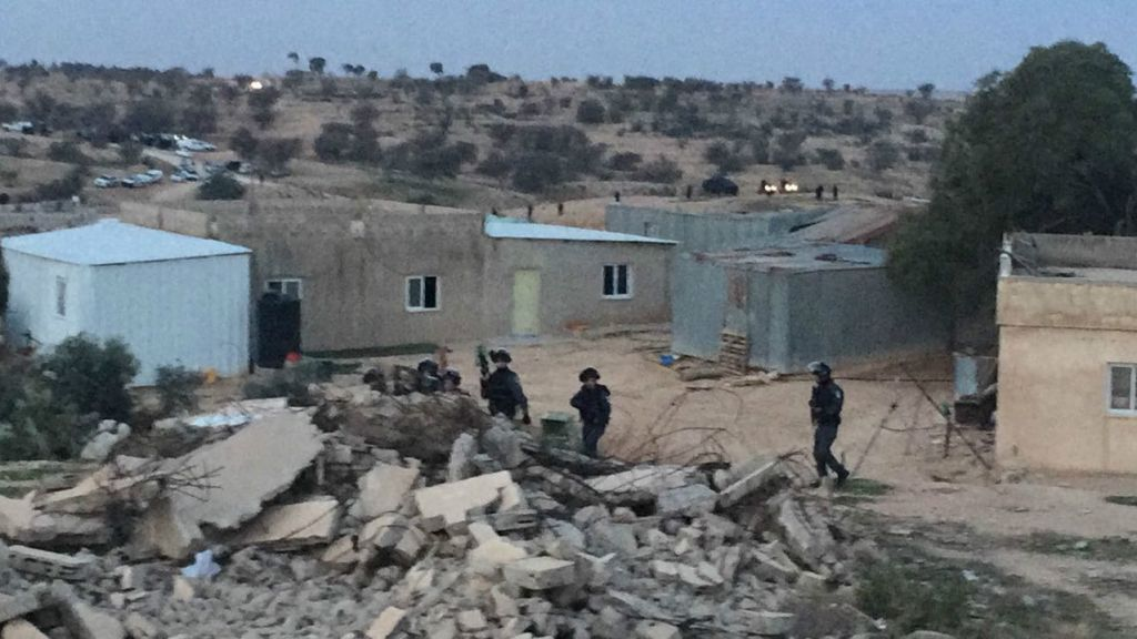 An image provided by an Arab Joint List spokesperson showing police forces at a planned home demolition in the Bedouin village of Umm al-Hiran that turned violent, with at least two killed in the ensuing clashes, on January 18, 2017. (Courtesy/Arab Joint List)