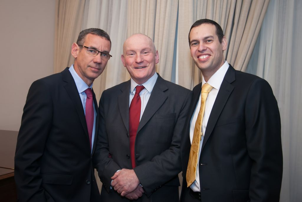 L-R: Ambassador Regev, Paddy McGuinness, the Deputy National Security Adviser for Intelligence, Executive director of British Friends of BFBIU, Shlomo Rechtschaffen