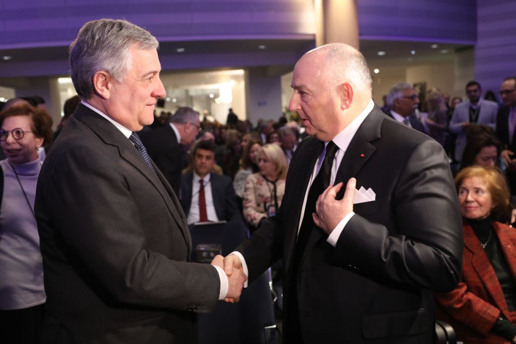 Dr. Moshe Kantor, European Jewish Congress President (right) with Antonio Tajani, the newly elected president of the European Parliament.