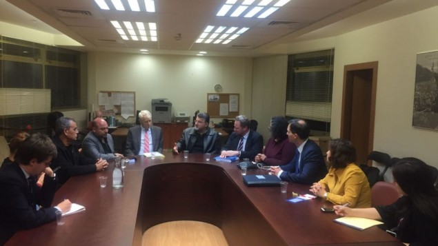 Lawmakers from the Joint (Arab) List meet with European Union representatives in the Knesset, January 18, 2017. (Courtesy)