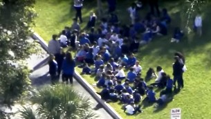 The scene outside a JCC in Miami Beach, Fla., after a bomb threat was received on Monday.