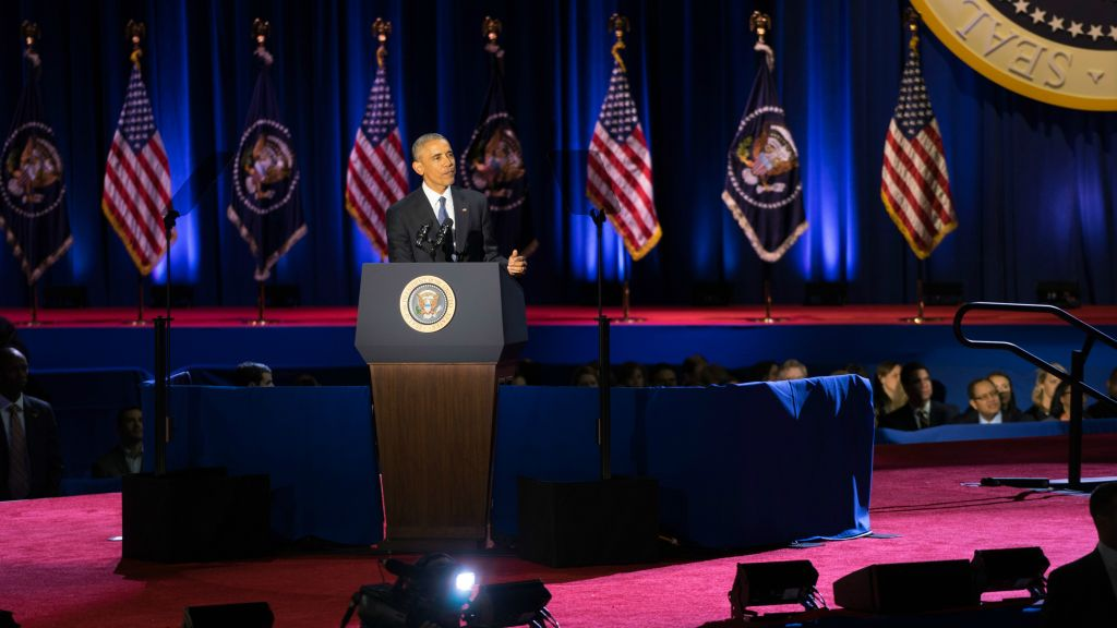 President Barack Obama addressing supporters Tuesday, January 10, in his closing remarks a week and a half before handing the presidency over to Donald Trump. (Ronit Bezalel/Times of Israel)