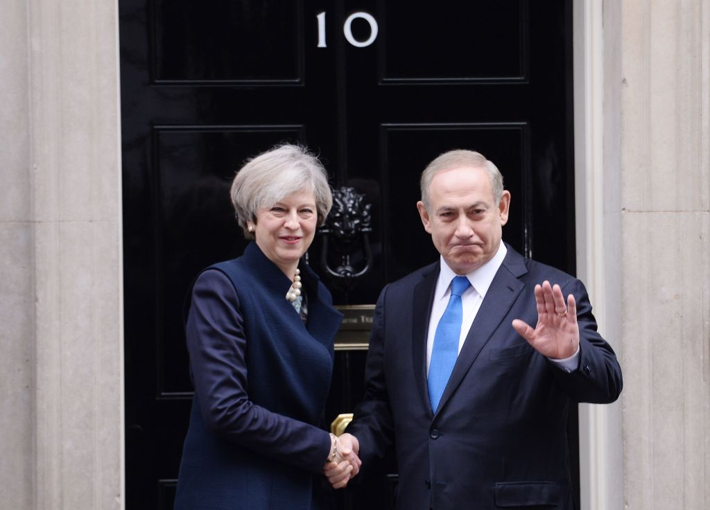 Prime Minister Theresa May greets Israeli Prime Minister Benjamin Netanyahu as he arrived in Downing Street in February (Photo credit: Stefan Rousseau/PA Wire)