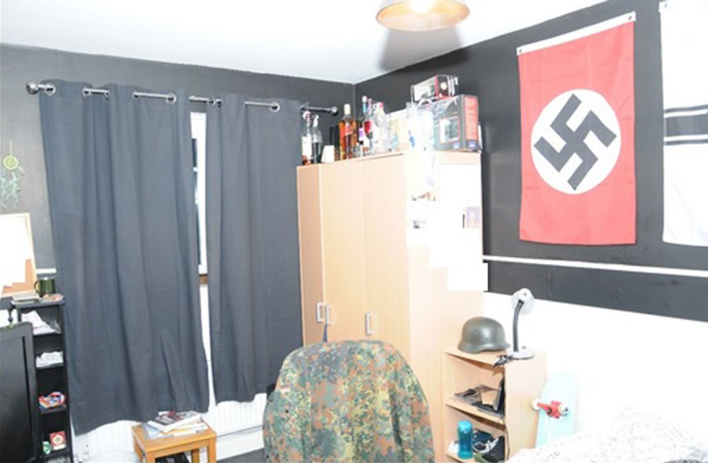 Nazi memorabilia in the bedroom of a teenager who made a pipe bomb (Photo credit: North East CTU/PA Wire)