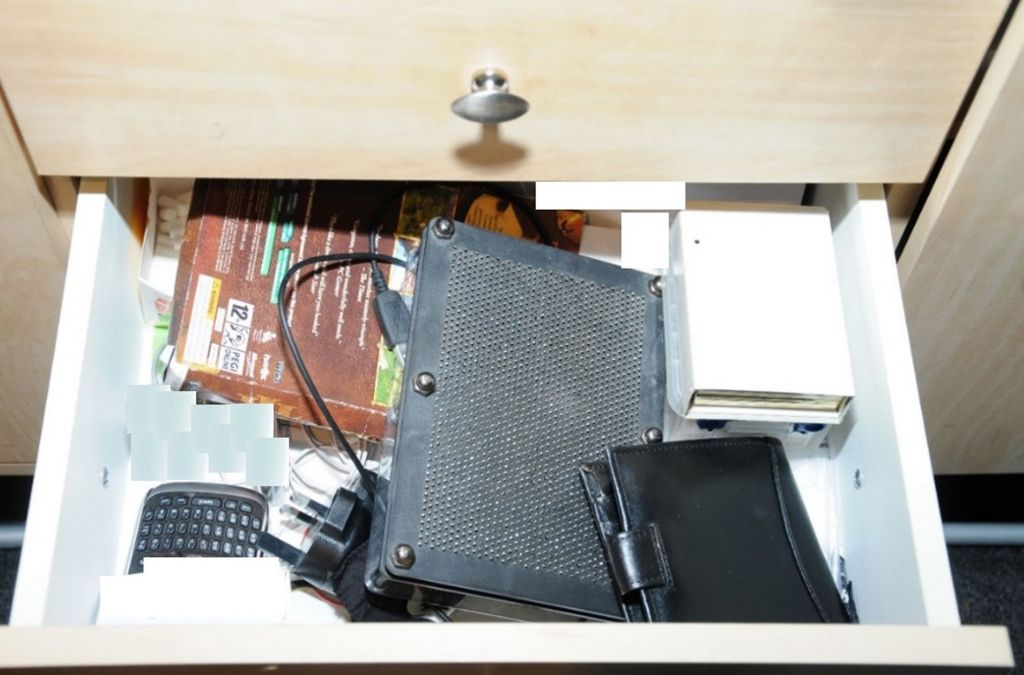 A drawer where a pipe bomb was found in the bedroom of a teenager, as he has avoided a prison sentence. (Photo credit: North East CTU/PA Wire)