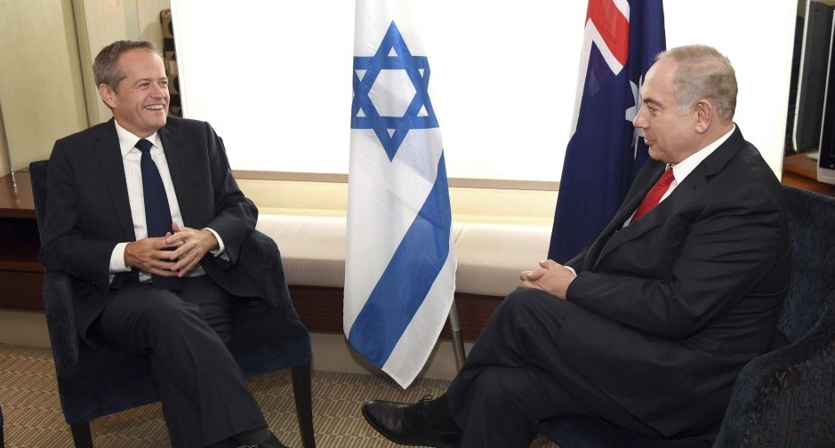 Israel's Prime Minister Benjamin Netanyahu, right, meets with the Australian Federal opposition leader Bill Shorten in Sydney, Friday, Feb. 24, 2017. (William West/Pool Photo via AP)