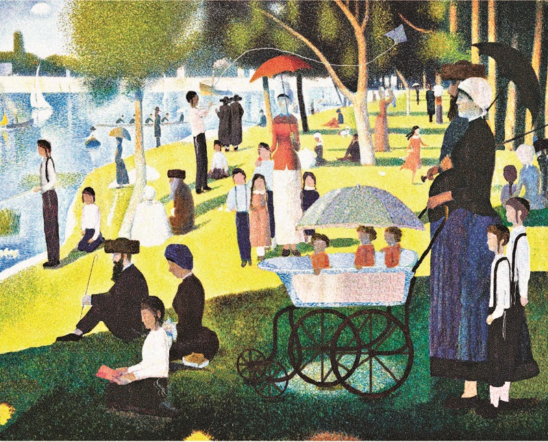 Chol HaMoed in the Park, as based on Seurat's A Sunday on La Grande Jatte