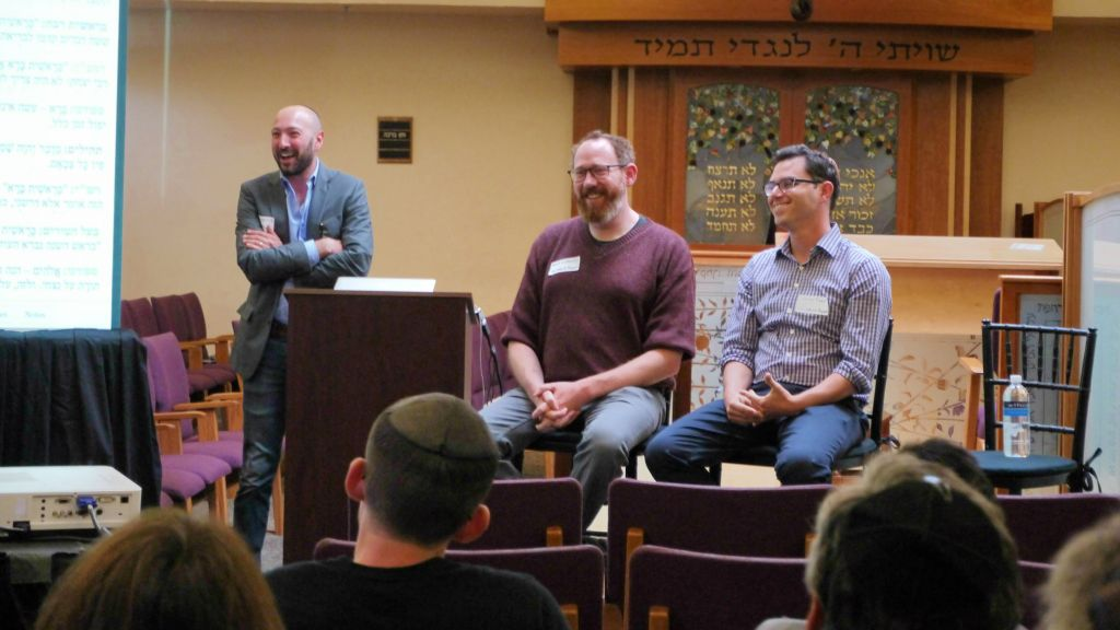From left to right: Sefaria Executive Director Daniel Septimus with co-founders Brett Lockspeiser and Joshua Foer. (Courtesy of Sefaria/via JTA)