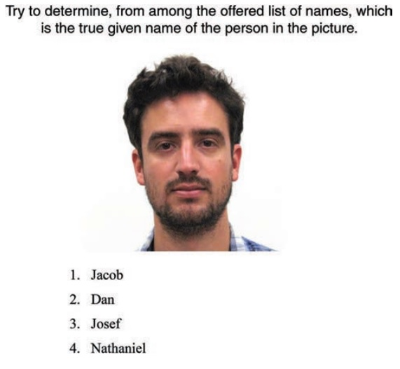 People are able to guess a person's name based on their appearance according to research published February 27, 2017 (Screen capture: Journal of Personality and Social Psychology)