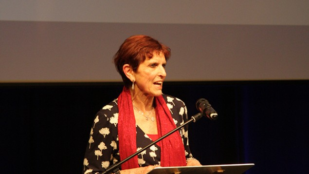Dame Helen Hyde delivering her keynote speech during the Jewish Schools Awards (Picture credit: Joel Seshold)